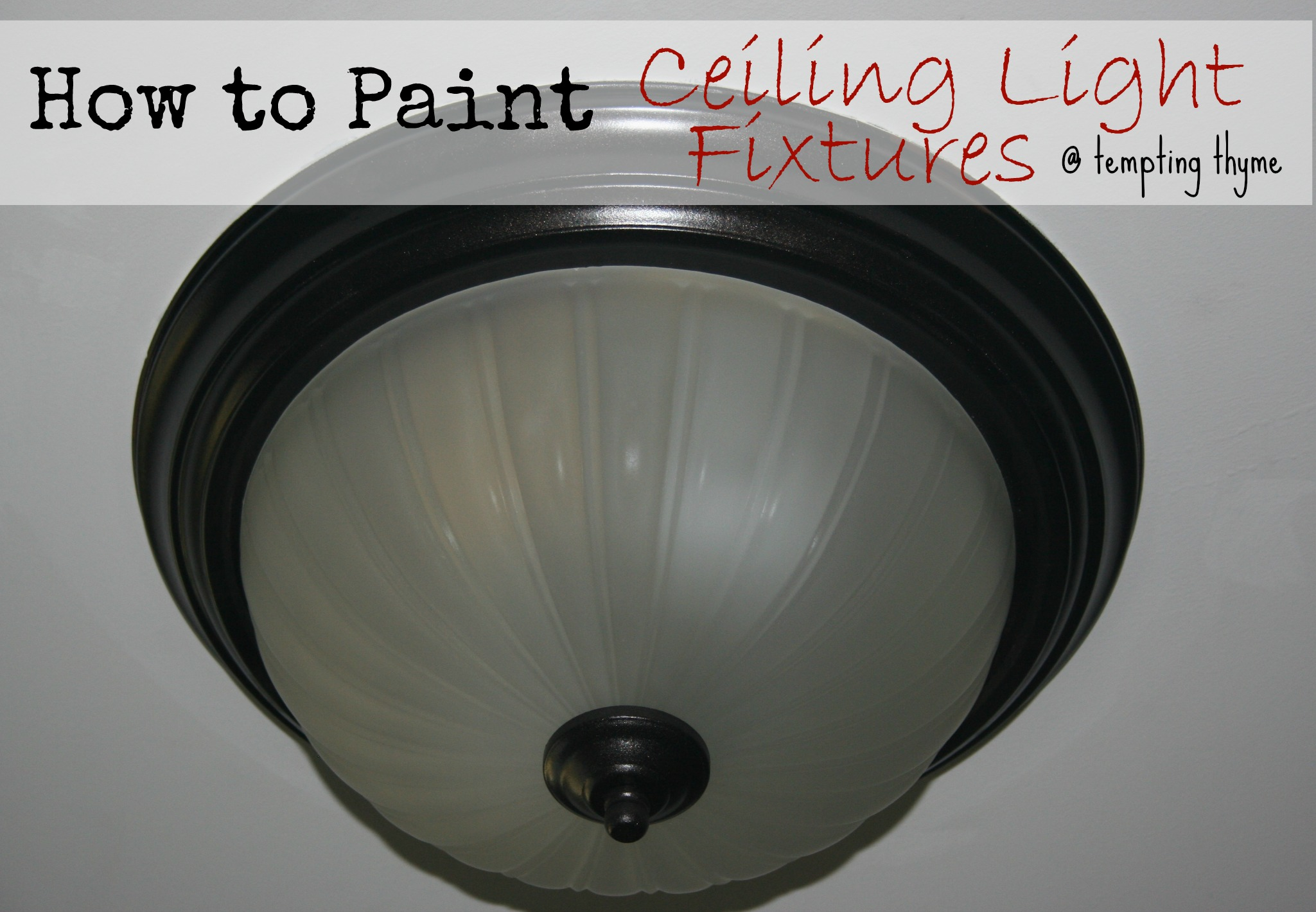 Updating a brass ceiling light with spray paint