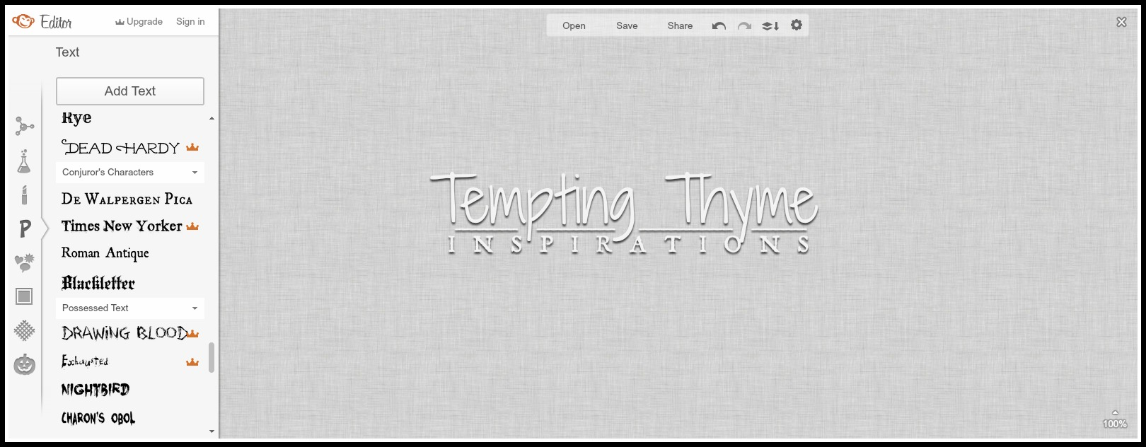 How to create a watermark-Tempting Thyme
