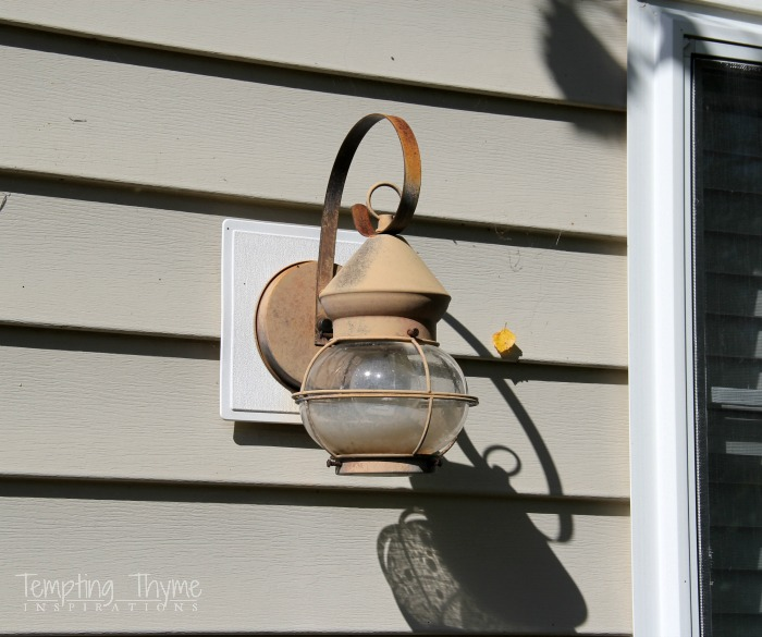 Freshening up the outside with a little spray paint tempting thyme diy spray painting lights workwithnaturefo