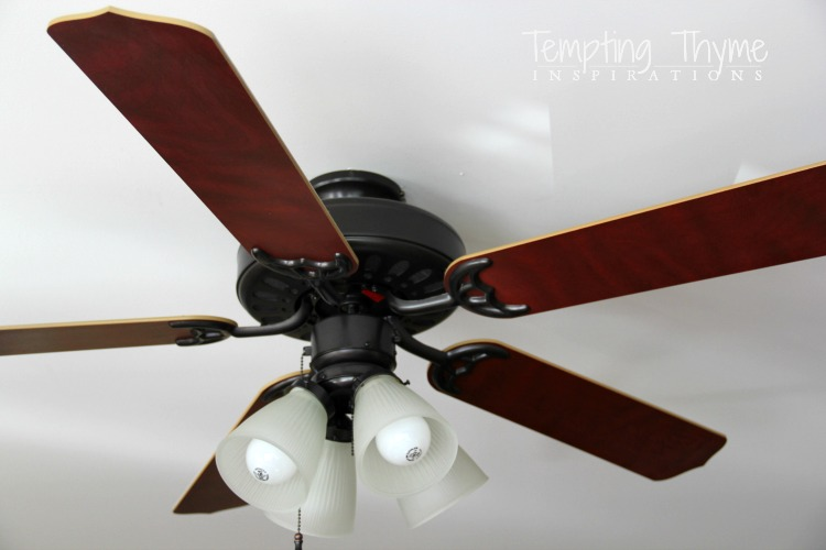 Updating a ceiling fan with a little paint tempting thyme how to spray paint a ceiling fan aloadofball Image collections