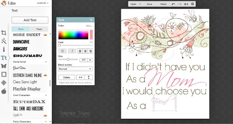Creating a Mother's Day Printable using Graphic Stock Images