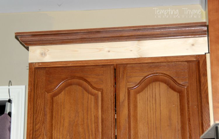 Adding height to the kitchen cabinets tempting thyme for Attaching crown molding to kitchen cabinets