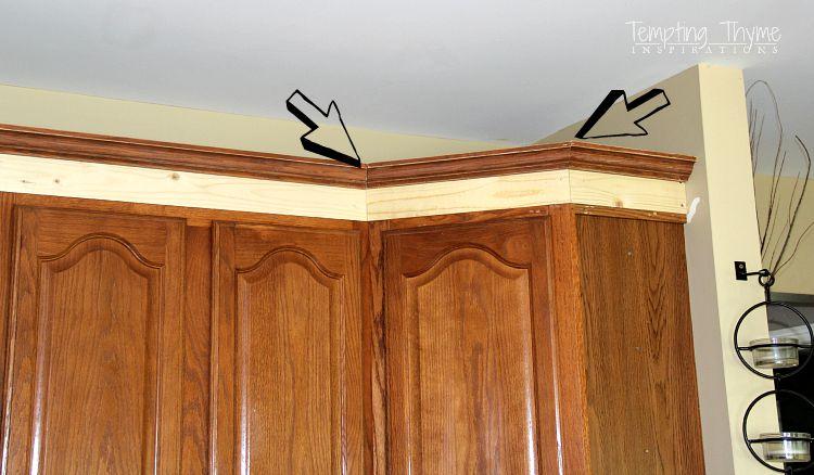 Adding Crown Molding To Kitchen Cabinets Adding Height To The Kitchen Cabinets  Tempting Thyme