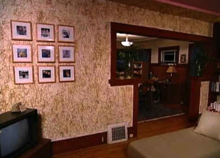 Wacky decorating from Trading Spaces. Gluing straw to walls.