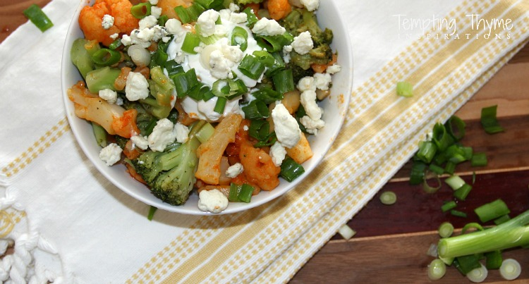 Buffalo Cauliflower and Broccoli Rice Bowl