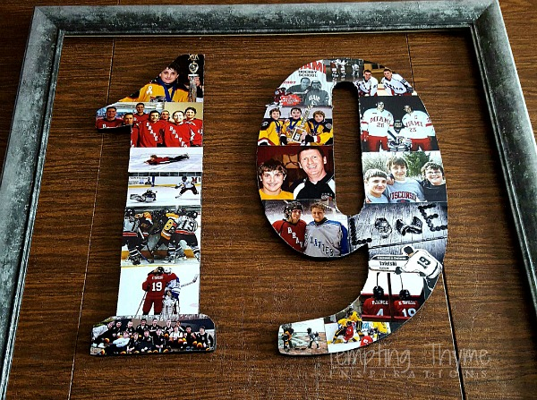 What an easy way to preserve years of memories. DIY Photo Collage on wooden numbers and letters.