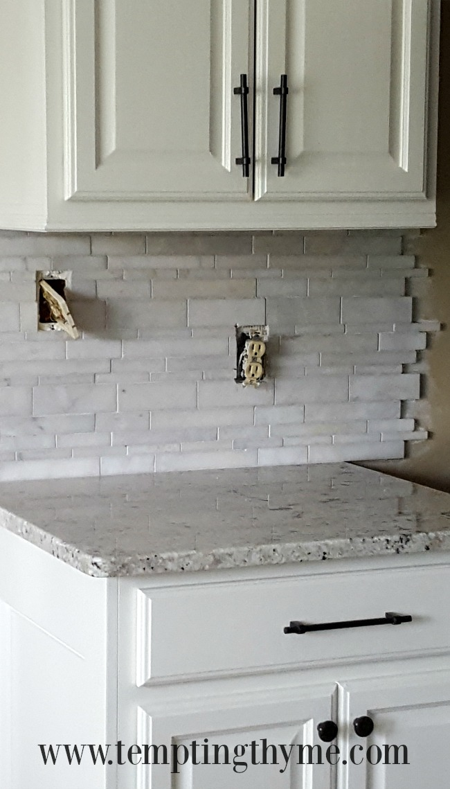 DIY marble tile back splash