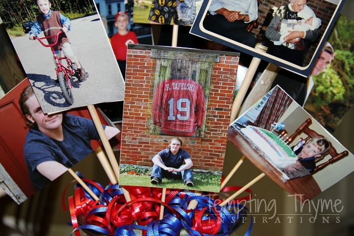 Using photographs in your centerpiece is a great idea for graduation parties!