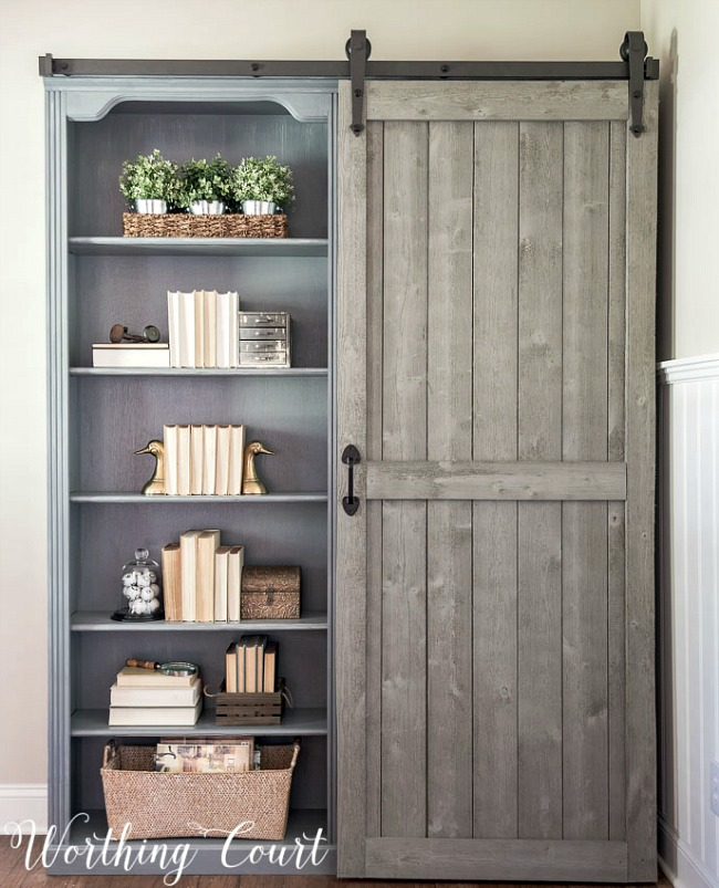 Bookcase makeover using barn doors