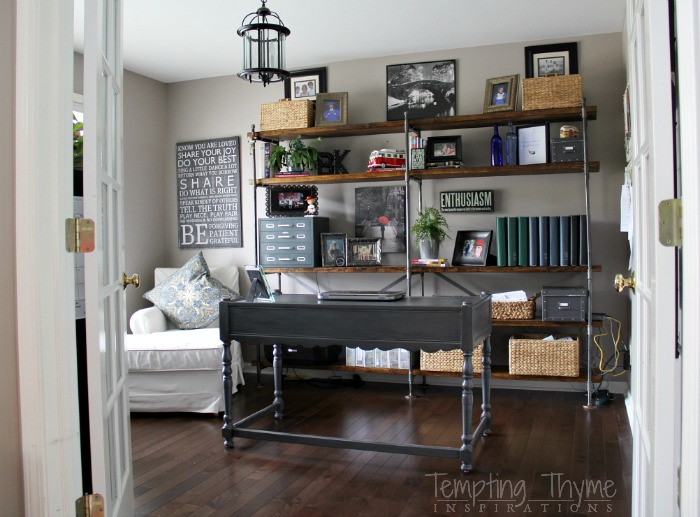 Love the industrial look? Me too! These bookcases are super easy to make and not only are functional but give your room that WOW factor!